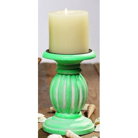 Small Lime Green Wood Pillar and Votive Candle Candlestick Candle Holder Cool Small Candlestick