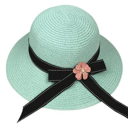 Iuhan Women Foldable Large Brim Crochet Summer Knit West Cowboy Sun Hat UV Beach (How To Crochet A Summer Brim Hat)