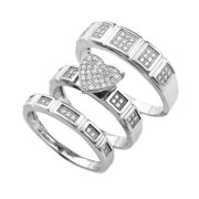 Real 925 Sterling Silver 8mm Heart Shaped Squared Pave Three Ring Set Sizes 6-9 (7)