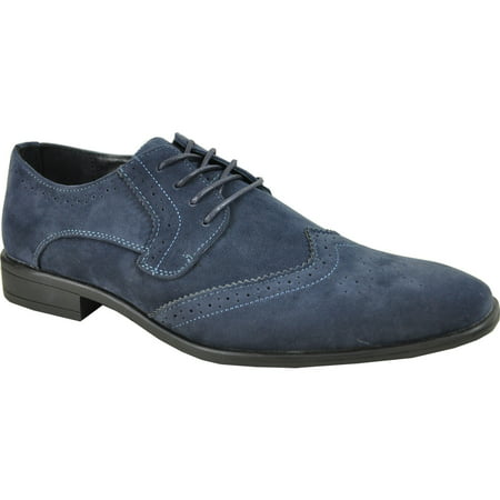 BRAVO/KING-3 Dress Shoe Classic Faux Suede Oxford Leather Lining Blue 7.5M