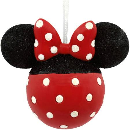 Christmas Minnie Mouse Head.Hallmark Disney Minnie Mouse Glitter Icon Head Ornament