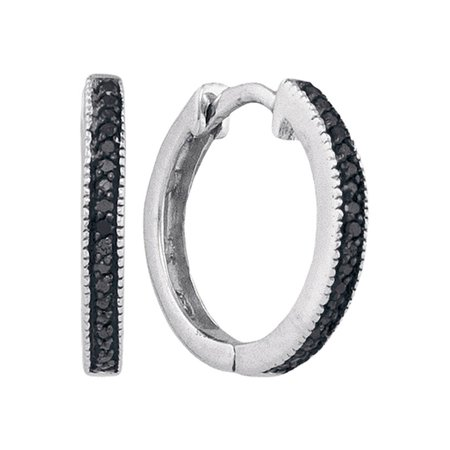 10kt White Gold Womens Round Black Color Enhanced Diamond Hoop Earrings 1/10 Cttw - Black And White Hoop Earrings
