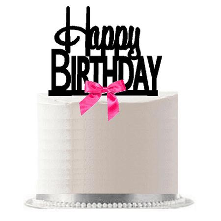 Happy Birthday Hot Pink Bow Elegant Cake Decoration Cake Topper - Pink Birthday Cake