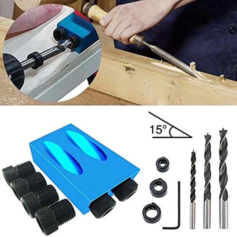Pocket Hole Jig Kit,14 Piece 15 Degree Dowel Drill Bit,Dowel Drill Joinery Kit,Woodworking Angle Drilling Guide,Woodwork Guides Joint Angle Tool,for Woodworking Angle Drilling,Carpentry Locator