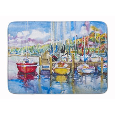 Paradise Yacht Club Sailboats Machine Washable Memory Foam Mat