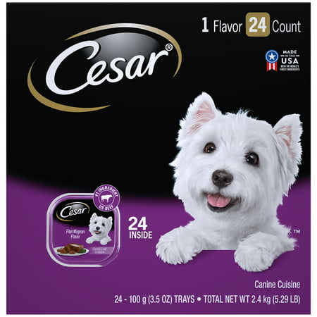 CESAR Wet Dog Food Classic Loaf in Sauce Filet Mignon Flavor Multipack, (24) 3.5 oz. (Best Wet Dog Food For Chihuahua)