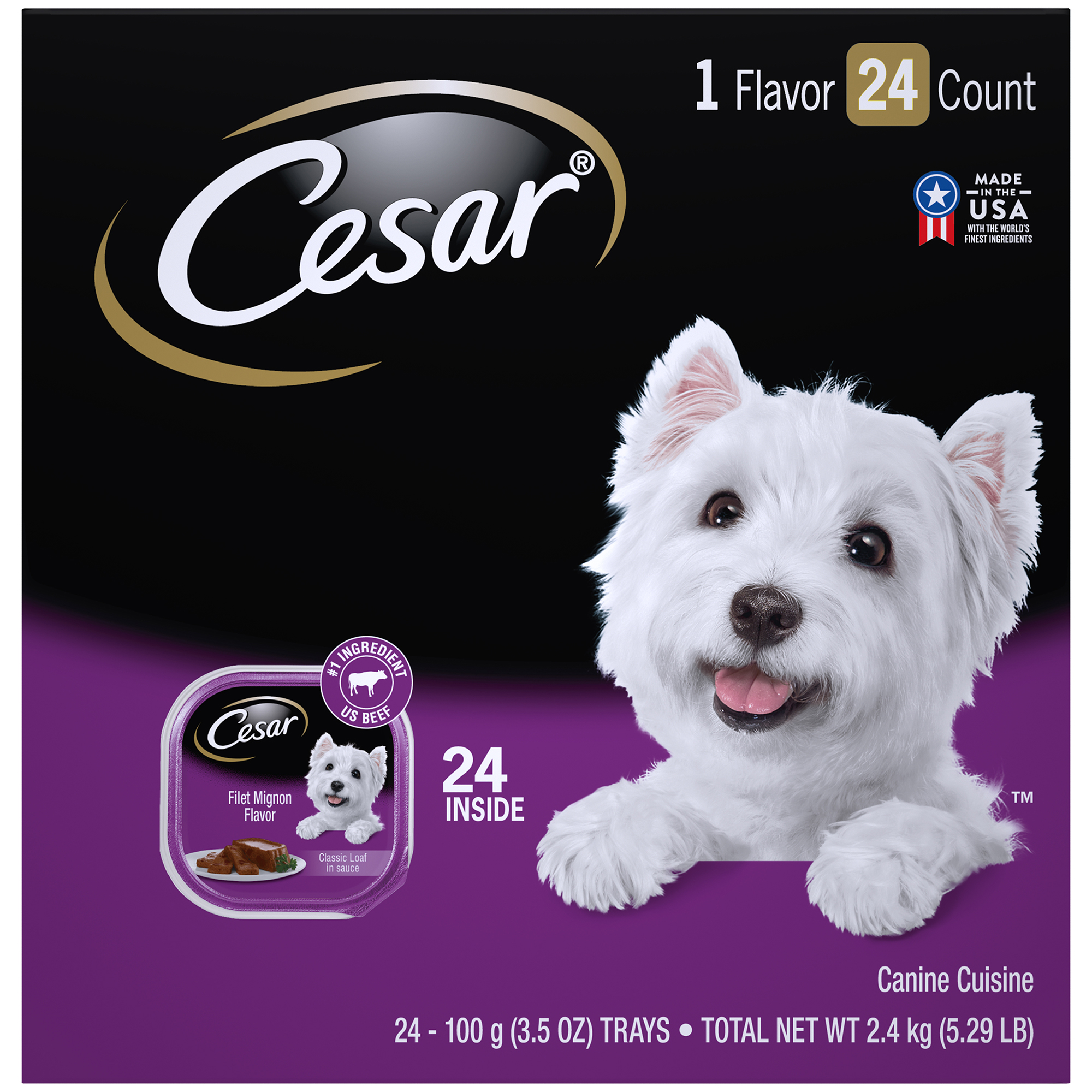 CESAR Wet Dog Food Classic Loaf in Sauce Filet Mignon Flavor Multipack, (24) 3.5 oz. Trays
