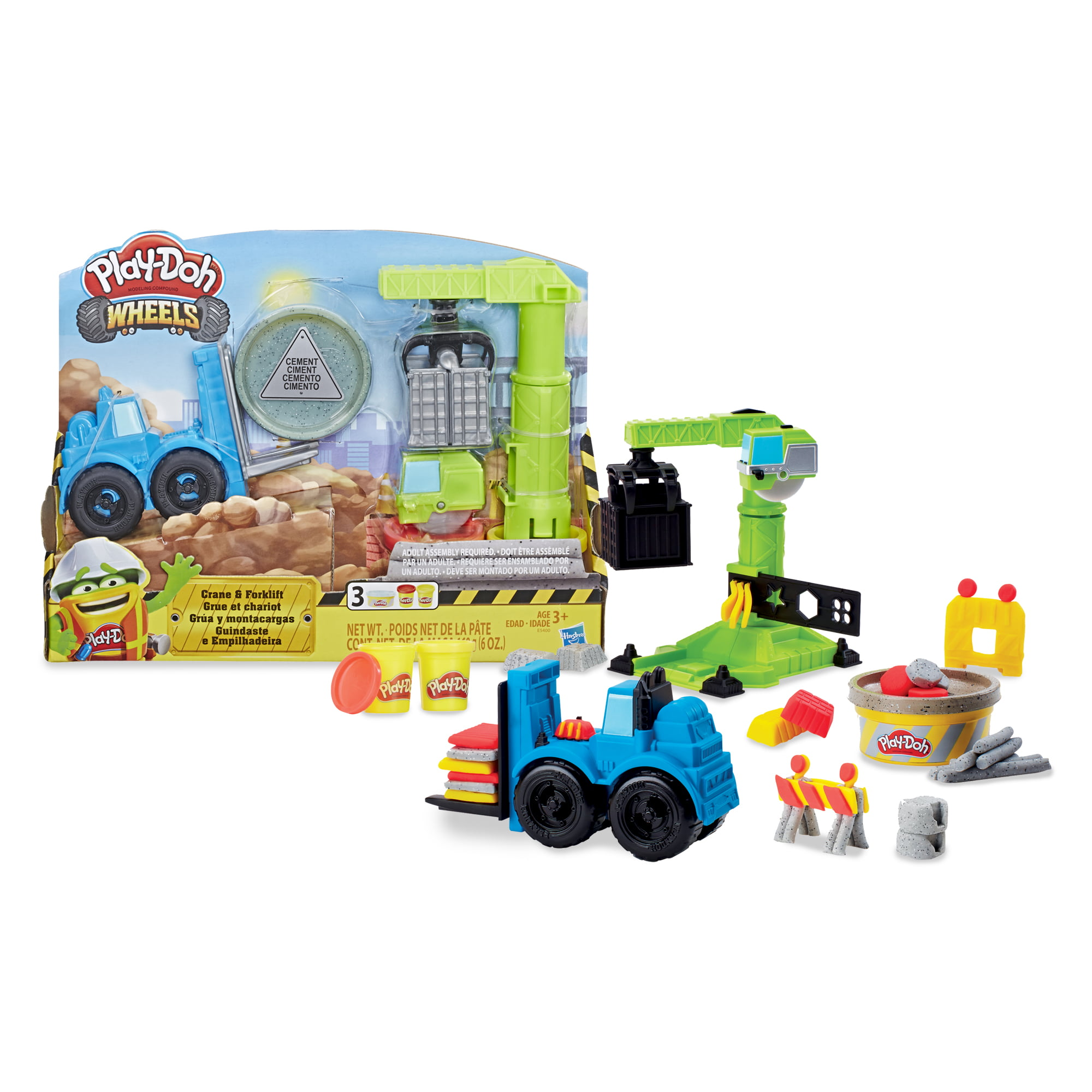 Play Doh Rainbow Starter Pack PD Play Doh Wheels Crane and Forklift Construction Trucks Play Set