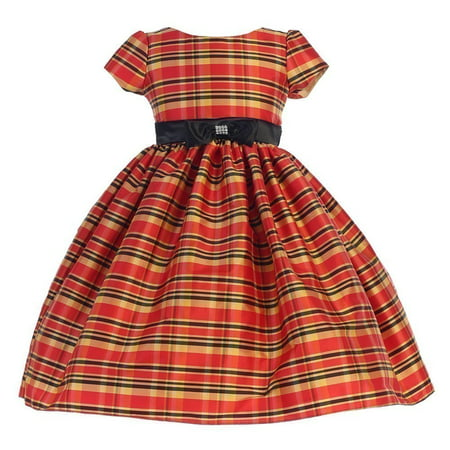 Ellie Kids Little Girls Red Black Bow Short Sleeve Tartan Christmas -