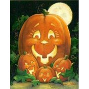 "Moms & Pumpkins House Flag Halloween Jack O'lantern Moonlight Fall 28"" x 40"""