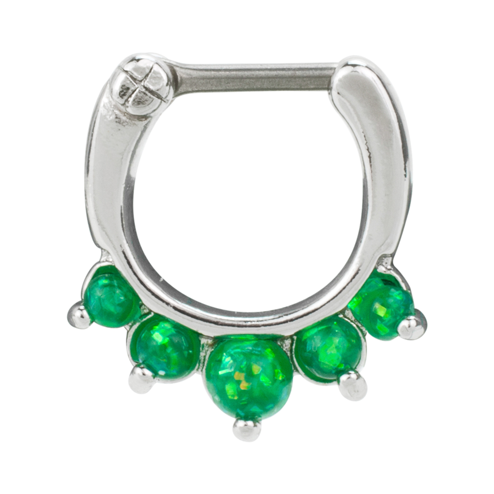 Bold Steel 16G 1.2mm Stainless Steel Created Opal Septum Clicker, GREEN, 1007-GRN
