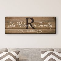 """Family Name and Initial 6"""" x 18"""" or 9"""" x 27"""" Personalized Canvas"""