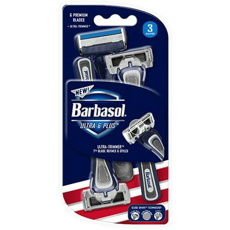 Barbasol Ultra 6 Premium Disposable Razor, 3 Count