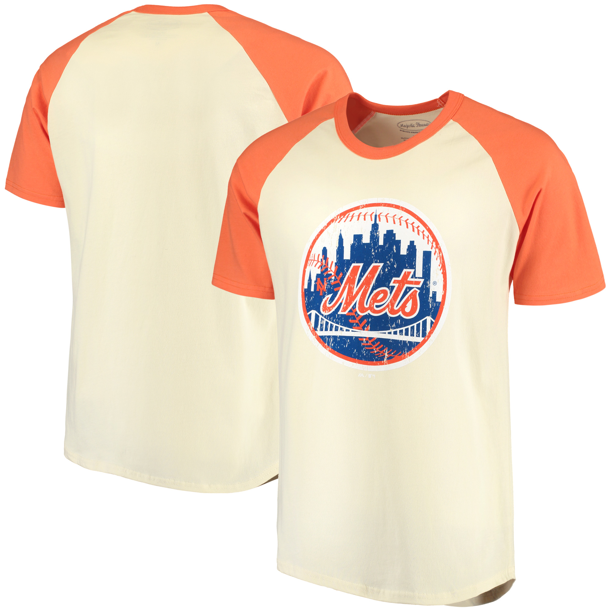 New York Mets Majestic Threads Softhand Raglan T-Shirt - Cream/Orange