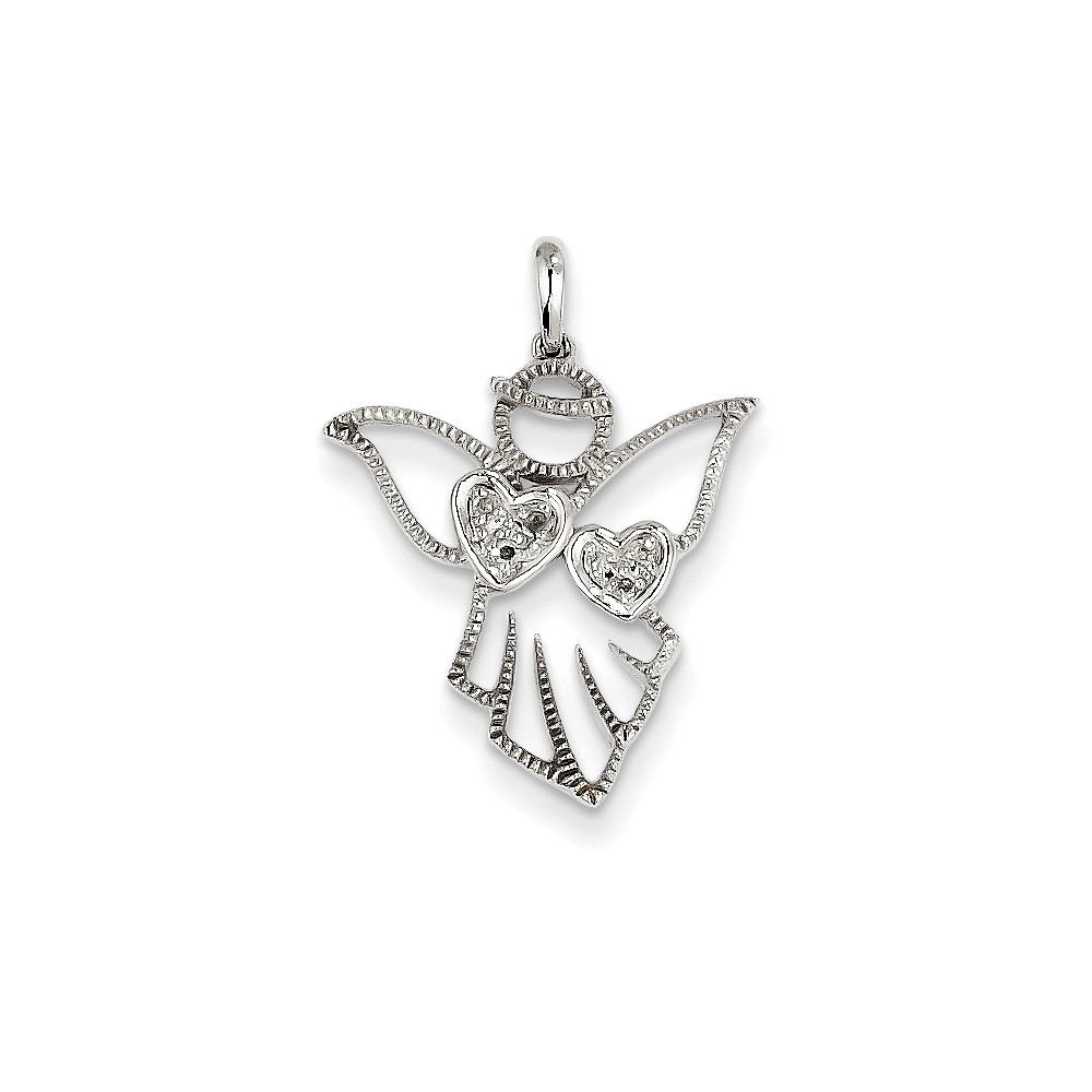 14k White Gold Diamond Angel Pendant. Carat Wt- 0.03ct
