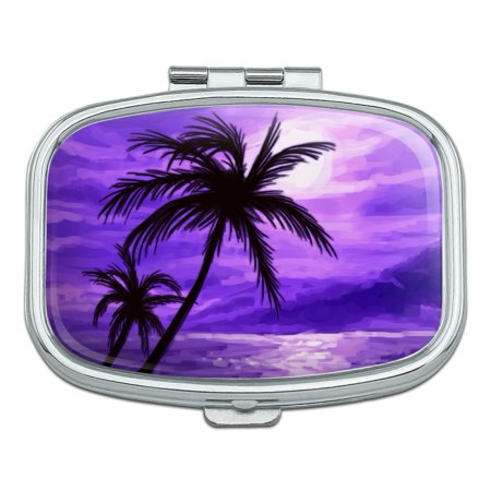 Purple Sunset Beach Palm Tree Hawaii Paradise Rectangle Pill Case Trinket Gift Box