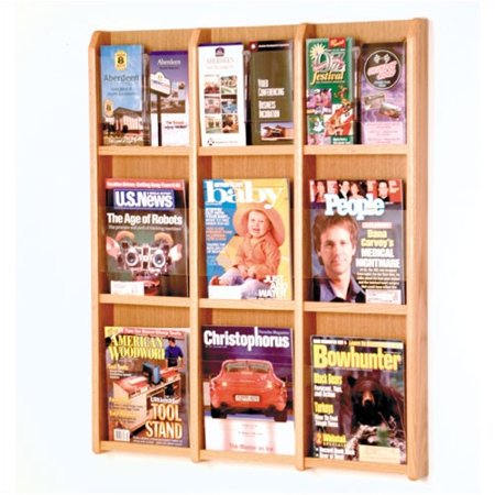 Overlapping Magazine Display - Wooden Mallet 9 Magazine / 18 Brochure Wall Display