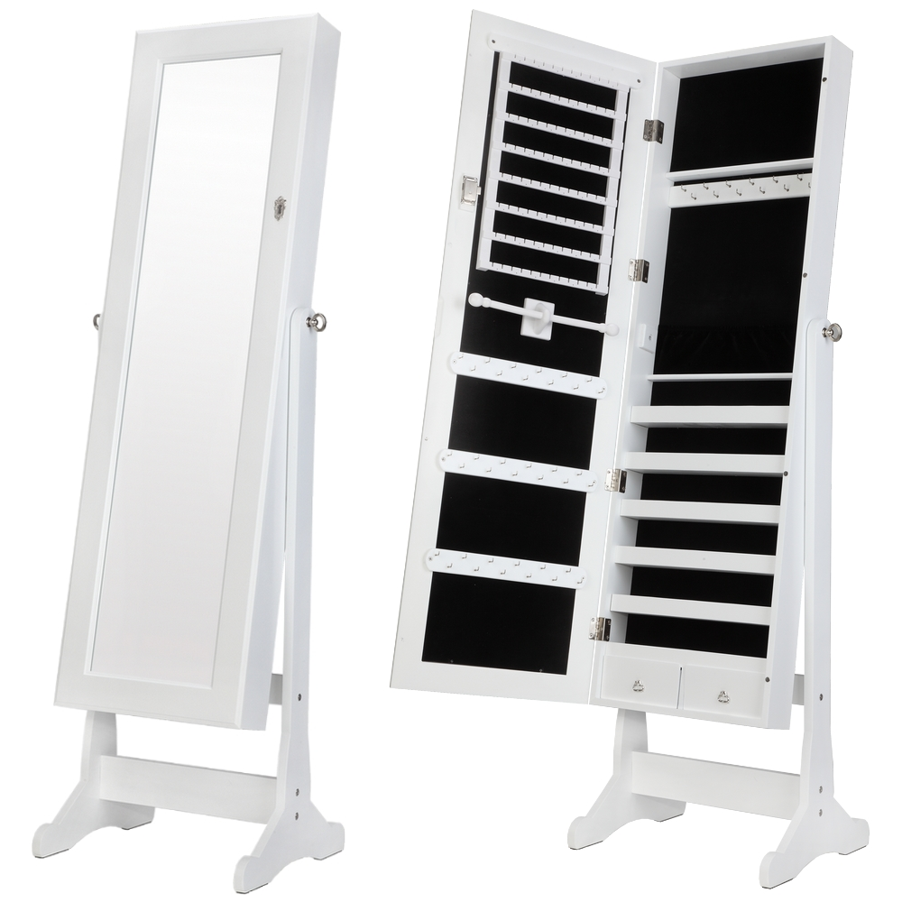 Homegear Modern Mirrored Jewelry Cabinet With Stand Armoire Organizer White