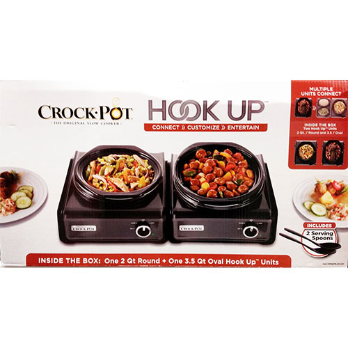 Crock Pot SCCPMDPK23-CH 2 Unit Hook-Up 2 Qrt Round 3.5 Qrt Oval Slow Cooker