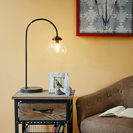 Industrial Venice Metal Pedestal Arched Table Lamp Painted Antique Bronze Finish with Glass Shade by INK+IVY - image 4 of 4