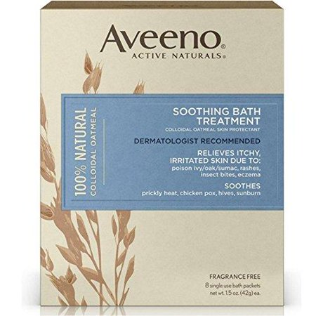 Aveeno Soothing Bath Treatment with 100% Natural Colloidal Oatmeal for Treatment & Relief of Dry, Itchy, Irritated Skin Due to Poison Ivy, Eczema, Sunburn, Rash, Insect Bites & Hives, 8 ct. Pack of (Home Remedies For Dry Itchy Skin For Cats)