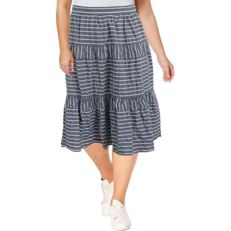 Lauren Ralph Lauren Womens Seersucker Striped Midi Skirt
