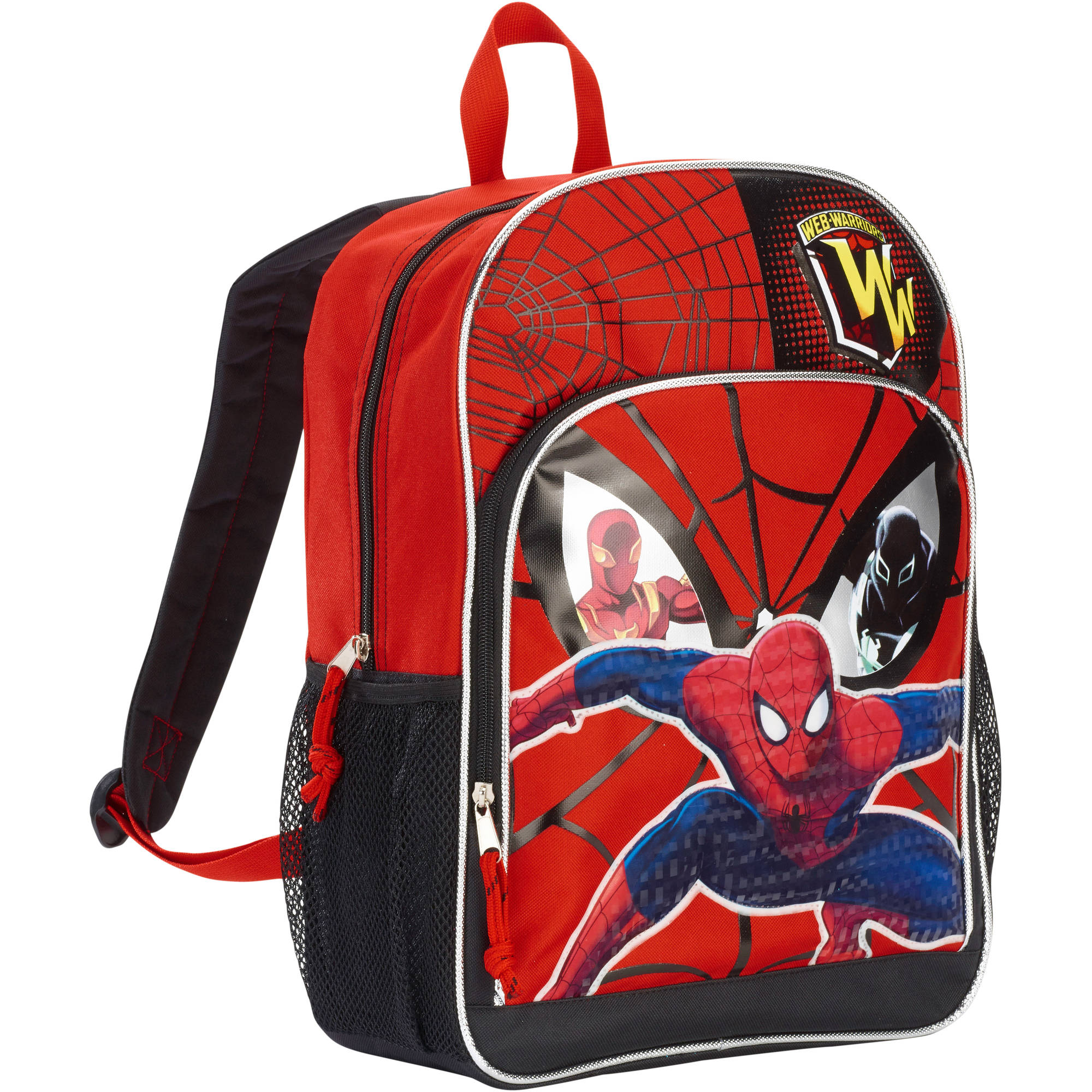 Spiderman Backpack -- Deluxe 16 Backpack with Padded Shoulder Straps (Spiderman School Supplies)