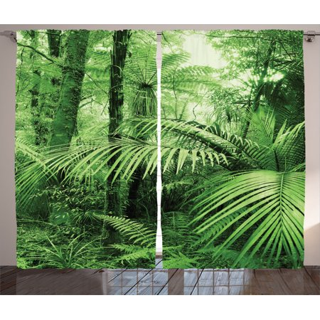 Rainforest Decorations Curtains 2 Panels Set, Palm Trees And Exotic Plants In Tropical Jungle Wild Nature Zen Theme Illustration, Living Room Bedroom Accessories, By Ambesonne