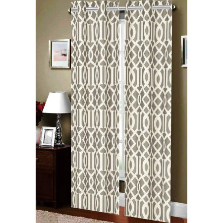 Elegance Gravy - Luxurious Geometric Collection Beautiful Printed Window Curtains/Panel/Drape with Grommets (Set of 2), Grey, 100% Polyester By Elegance Linen,USA