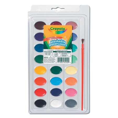 Crayola Washable Watercolors 24 Count With Paint Brush ()