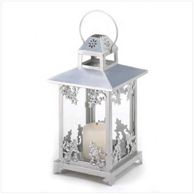 SWM 39891 Silver Scrollwork Candle Lantern