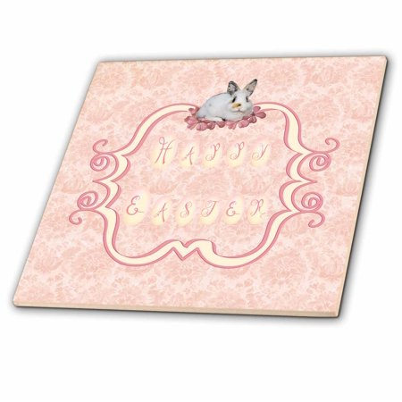 3dRose Calico Bunny Rabbit on Happy Easter Banner, Peach and Yellow - Ceramic Tile, 4-inch