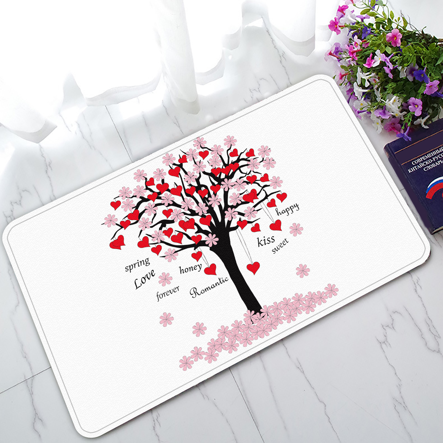 YKCG Spring Tree of Love Pink Red Valentine's Day Doormat Indoor/Outdoor/Bathroom Doormat 30x18 inches