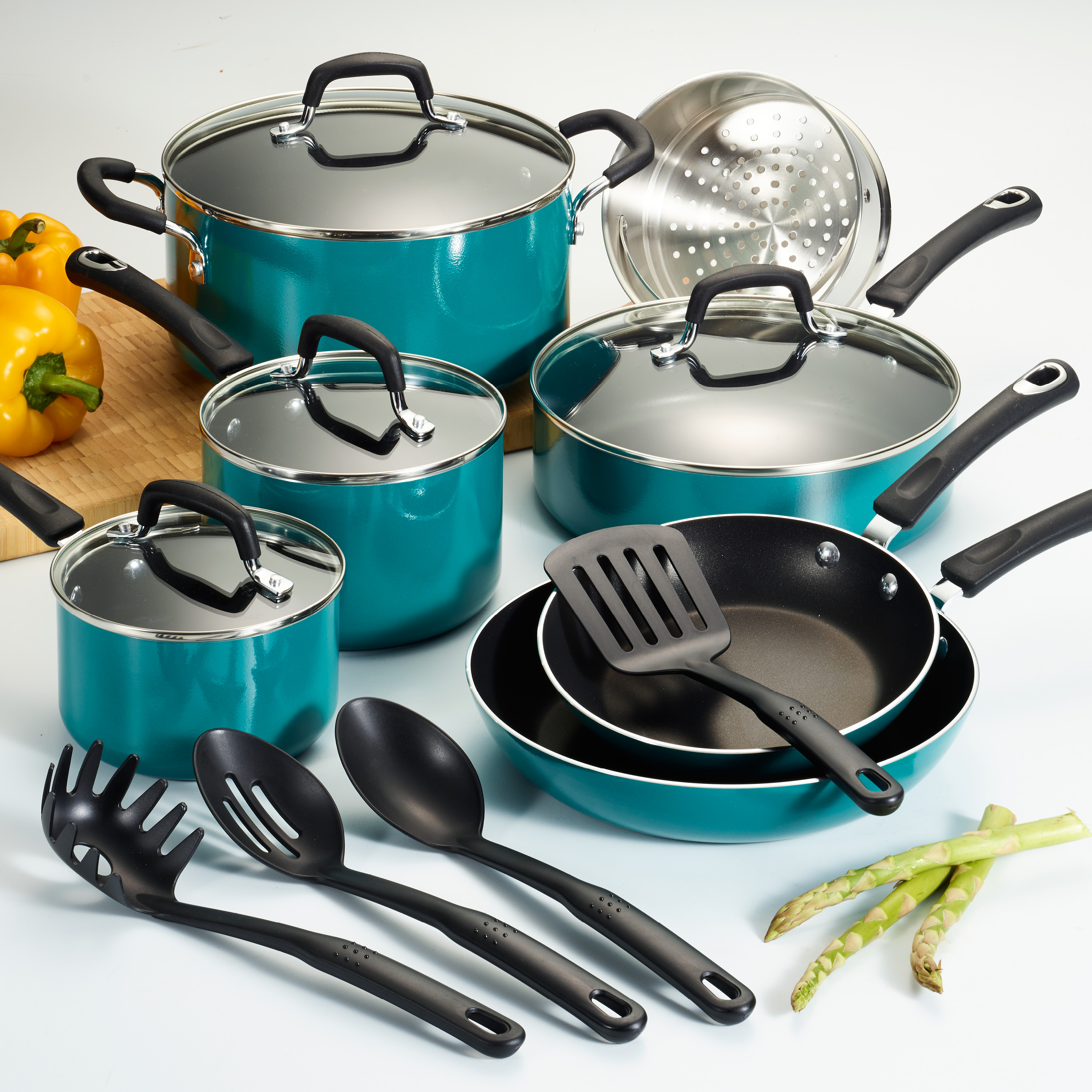 Tramontina 15 Pc Select Teal Nonstick Cookware Set