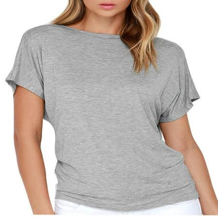Women Pullover Short Raglan Sleeve Summer Casual Tops Light Gray M