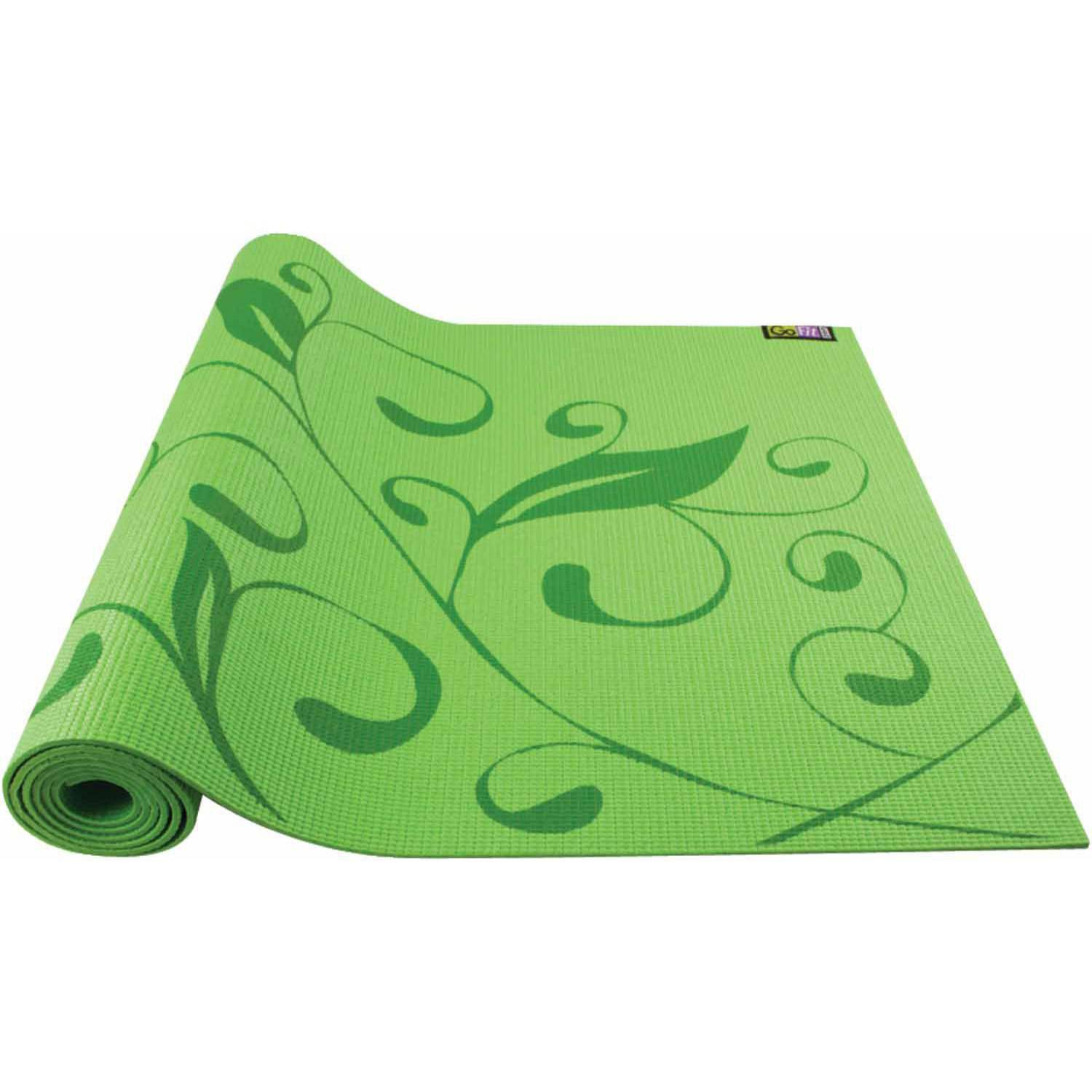 GoFit Printed Yoga Mat, Green