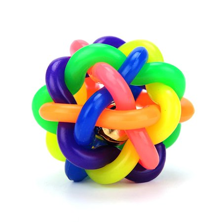 Dog toy ball color rubber woven ball dog toy ball vocal molar rainbow ball - image 1 of 6