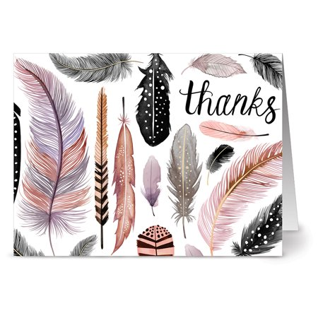 24 Note Cards - Thanks Feather Motif - Blank Cards - Gray Envelopes Included