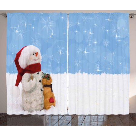 Snowman Curtains 2 Panels Set, Winter Time Theme Cute Snowman with Christmas Hat Scarf and Present Happy Holiday, Window Drapes for Living Room Bedroom, 108W X 84L Inches, Multicolor, by