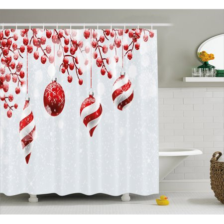 Christmas Bathroom Curtains.Christmas Shower Curtain Traditional Design Icons Holly Berry Branches With Snow And Bokeh Effect Print Fabric Bathroom Set With Hooks 69w X 70l