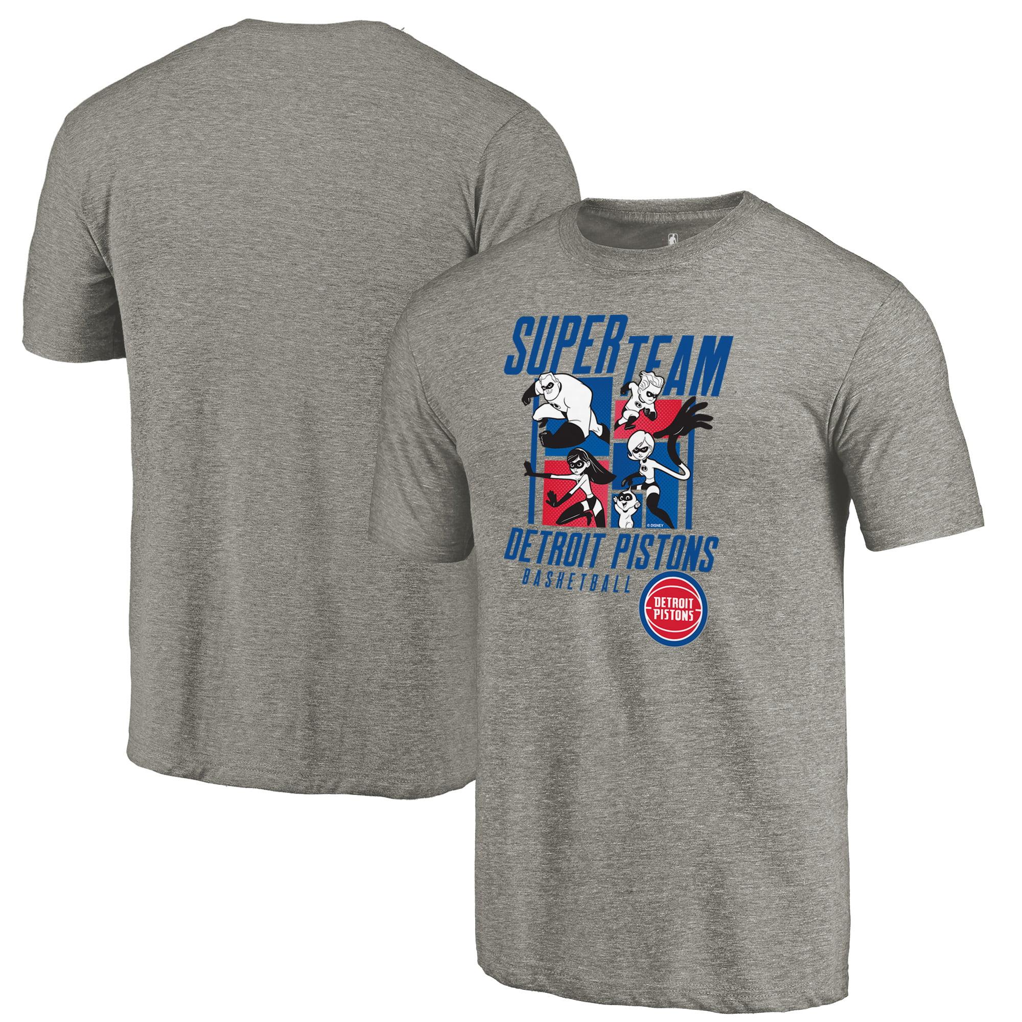 Detroit Pistons Fanatics Branded Disney Pixar The Incredibles Super Team Tri-Blend T-Shirt - Heathered Gray