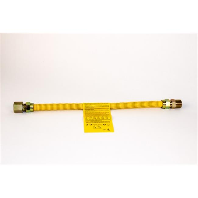 Charman 800-38-C4-18 inch Yellow Coated Gas Connector - 3/8 inch OD 1/2 inch FIP x 1/2 inch FIP - 18 inch (Pack of 5)