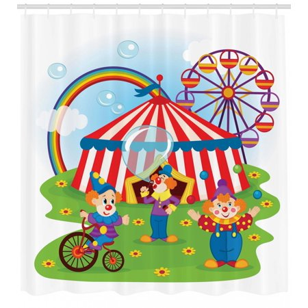 Circus Shower Curtain Scene With Clowns On Grass Rainbow Ferris Wheel Happy Bubbles Childhood