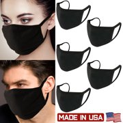 5Pcs Unisex Face Mask Protect Reusable 100% Cotton Comfy Washable Made In USA Black