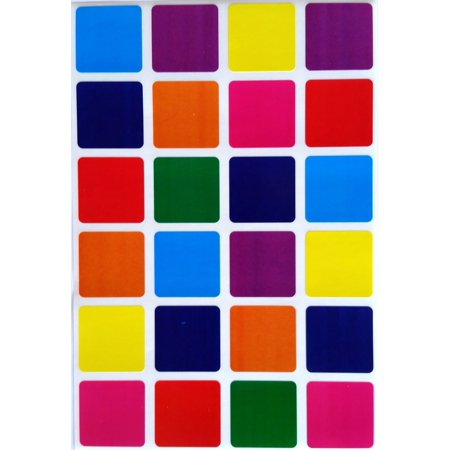 7 Inch Semi Gloss Labels - Square Color Coding Labels 1 inch by 1 inch-Value pack  8 Colors-Blue, Dark Blue, Red, Purple, Green, Orange, Pink and Yellow-- Square Labels multi Pack-Semi gloss (240)