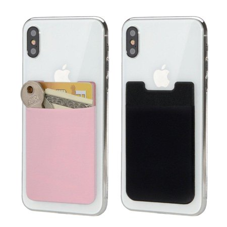 Adhesive Pouch - HJ Wireless Card Holder Back of Phone Stretchy Ultra Slim 3M Adhesive Lycra Card Sleeve Stick on Credit Card Wallet Phone Case Pouch Sleeve Pocket for Most Smart Phones 2 Pack (Black Pink) Black Pink