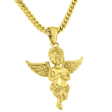 Gold Mens Franco Chain (Baby Angel Pendant 18K Gold Finish Stainless Steel Free Franco Chain Brand New Jewelry On Sale)