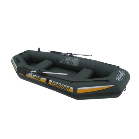 Inflatable Green and Yellow Three Fishing Boat Set, 9.5-Feet