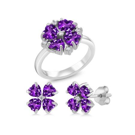 3.41 Ct Heart Shape Purple Amethyst 925 Sterling Silver Ring Earrings Set