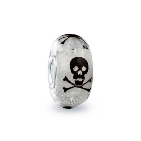 Bling Jewelry 925 Silver Glow in the Dark Murano Black Skull Bead Charm